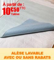 Alèse absorbante lavable 4 épaisseurs avec ou sans rabats