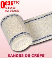 Bandes de crêpe 100% coton avec lisières bleues Robe Médical