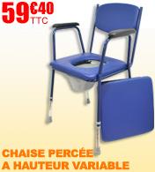 Chaise percée à hauteur réglable avec accoudoirs Salamender