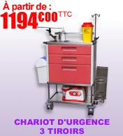 Chariot d'urgence avec 3 tiroirs