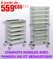 Chariot mobile de stockage et distribution 4 paniers ISO avec séparations