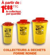 Collecteurs à déchets forme ronde de 0.8 L à 2 L