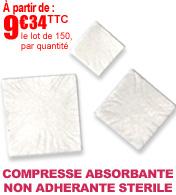 Compresses non adhérentes et absorbantes 3 couches stériles - Lot de 150 Robé médical