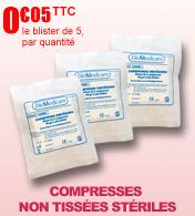 Compresses stériles non tissées en viscose-polyester Robé Médical, sous blister de 5