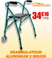 Déambulateur aluminium pliable 2x2 roues à l'avant avec assise et dossier Salamender