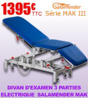 Divan spécial auscultation 3 parties hauteur variable électrique Salamender Mak III
