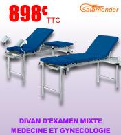 Divan d'examen médical et gynécologique 3 parties à hauteur fixe S618 Salamender