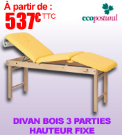 Divan bois 3 parties hauteur fixe Ecopostural