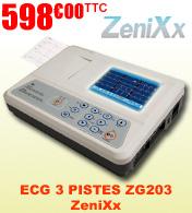 Electrocardiographe ECG 3 pistes avec interprétation, mémoire interne et écran couleur ZG203 ZeniXx
