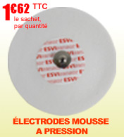 Électrodes mousse à pression rondes universelles pour ECG Ø 54mm - Lot de 30