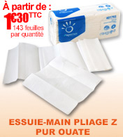 Essuie-mains pliage Z  143 feuilles pure ouate 45 grammes Ecolabel