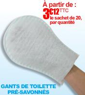 Gants de toilette pré-savonnés à humidifier