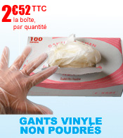 Gants vinyle non poudrés Robé,  Boîte de 100