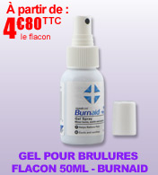 Gel pour brûlures BURNAID - Flacon spray de 50 ml