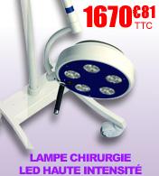 Lampe de chirurgie LED haute intensité sur pied 50 000 Lux à 1 mètre