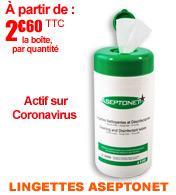 Lingettes désinfectantes Aseptonet actif sur H1N1