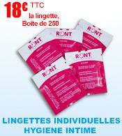 Lingette individuelle hygiène intime RONT - Boîte distributrice de 250