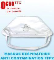 Masque respiratoire FFP2 anti contamination forme bec pliable EN 149:2001