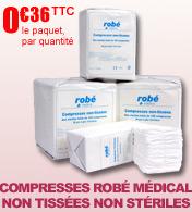 Compresses non tissées non stériles Robé Médical, par paquet de 100