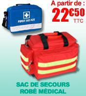 Sac de secours d'urgence Robé médical avec séparations L45xl 28xH 28 cm