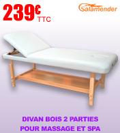 Divan bois 2 parties pour massage et spa Salamender