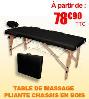 Table de massage pliante en bois largeur 60 ou 70 cm Noir Salamender