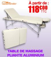 Table de massage pliante aluminium 3 parties largeur 70 cm Prune Salamender