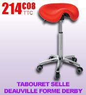 Tabouret-selle Deauville forme derby piètement métal