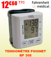 Tensiomètre électronique poignet BP 308 Fahrenheit Médical