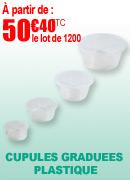 Cupules graduées plastique, petit format, lot de 1200