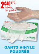 Gants vinyle poudrés Robé,  Boîte de 100