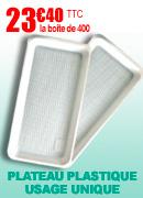 Plateaux plastiques usage unique - Lot de 400