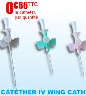 Catheter  IV court  NIPRO WING CATH � ailettes materiel medical