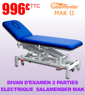 Divan d'examen 2 parties hauteur variable Salamender Mak II - Commande pied materiel medical