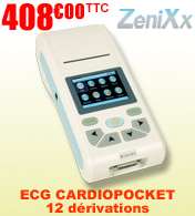 Electrocardiographe ECG 12 dérivations CARDIOPOCKET 1-3-6 pistes - ZeniXx materiel medical
