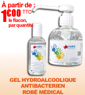 Gel hydroalcoolique antibact�rien ROBE MEDICAL materiel medical
