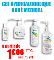 Gel hydroalcoolique ROBE MEDICAL bactéricide, levuricide et virucide  materiel medical