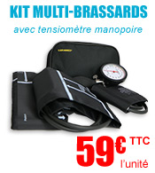 Kit multi-brassards avec tensiomètre manopoire K10 (3 brassards : S, M, L) Luxamed materiel medical