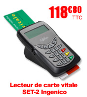 Lecteur de carte vitale bifente fixe SET-2 Ingenico materiel medical