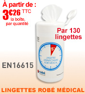 Lingettes désinfectantes EN 16615  ROBE MÉDICAL 130 lingettes grand format materiel medical