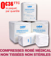 Compresses de gaze non tiss�es non st�riles Rob� M�dical, par paquet de 100 materiel medical