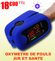 Oxymètre saturomètre digital avec protection antichoc et trousse AS-1001 AIR ET SANTE materiel medical