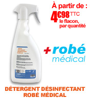 Spray ROBE MEDICAL détergent désinfectant sans alcool biodégradable toutes surfaces médicales 750ml materiel medical