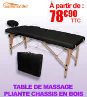 Table de massage pliante en bois largeur 60 ou 70 cm Noir Salamender materiel medical