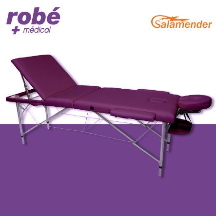 table de massage pliante aluminium 3 parties largeur 70 cm prune salamender tables de massage. Black Bedroom Furniture Sets. Home Design Ideas